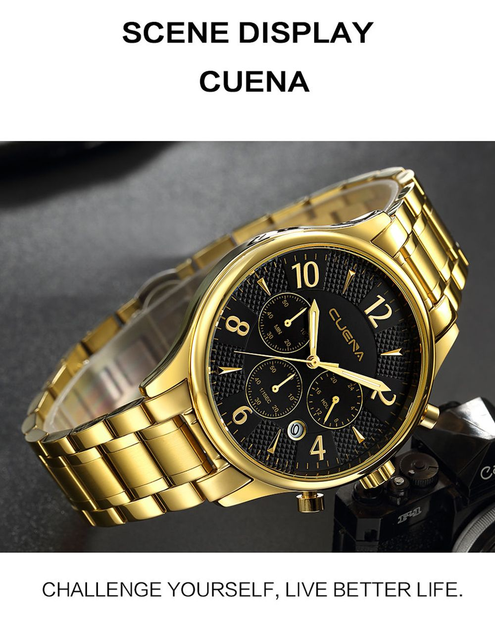CUENA 6919 Men Steel Band Multifunctional Quartz Waterproof Watch