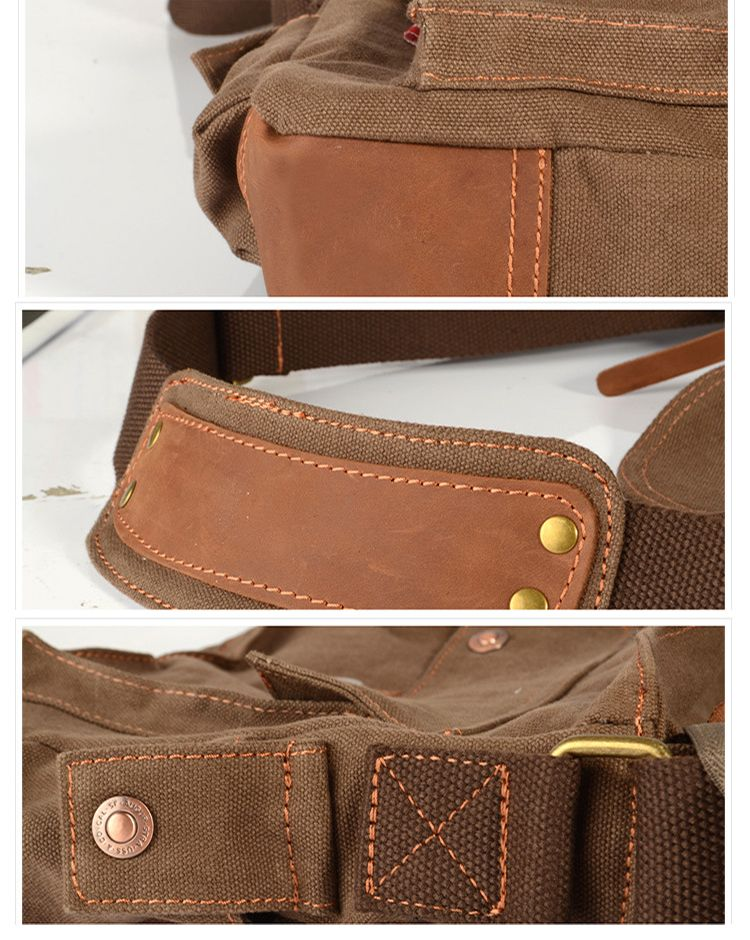 AUGUR Fashion Men Shoulder Bag Canvas Leather Belt Vintage Military Male Small Messenger Casual Travel Crossbody Bags