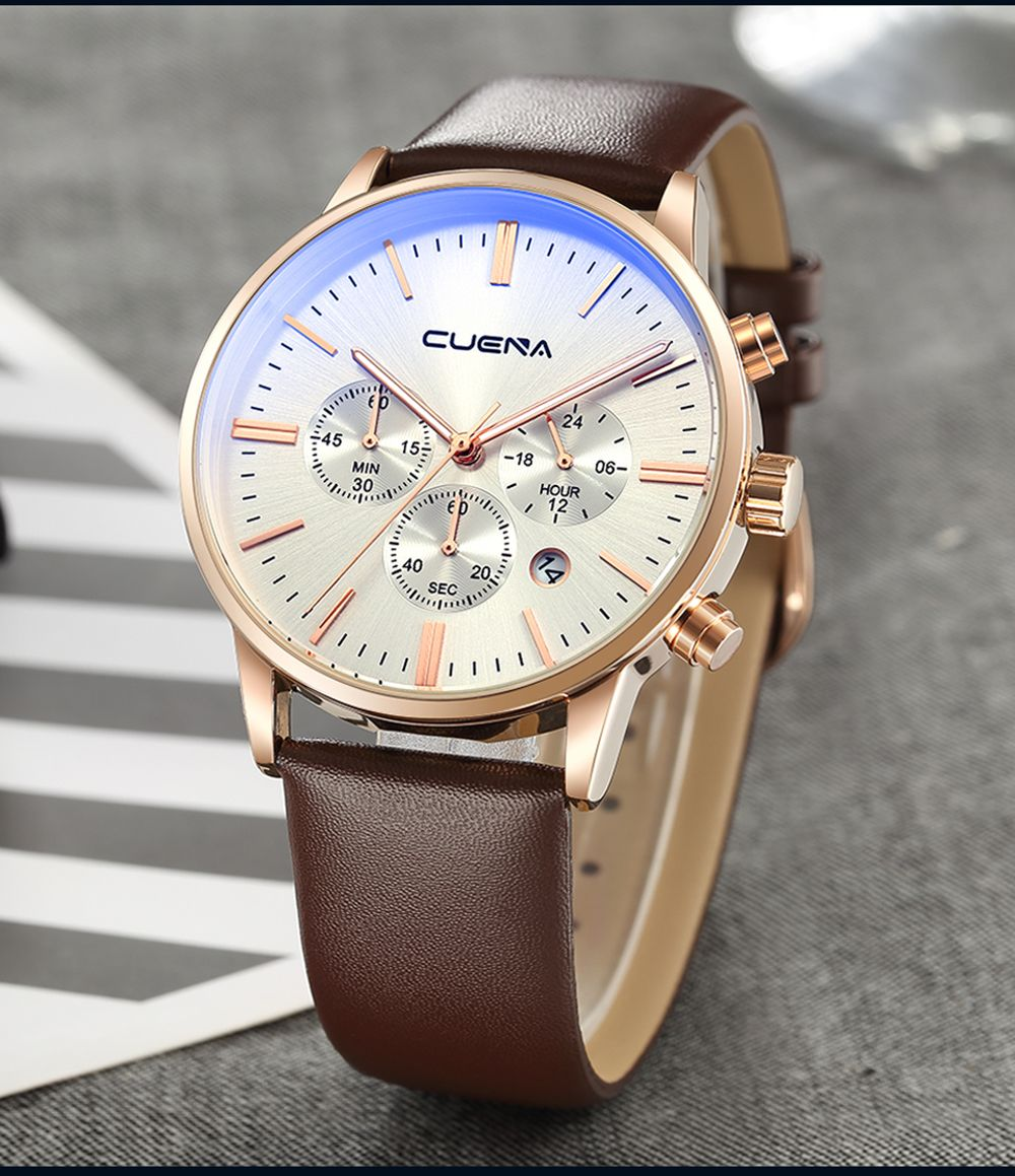 CUENA 6813 Genuine Leather Band Men Multifunction Quartz Watch with Alloy Case