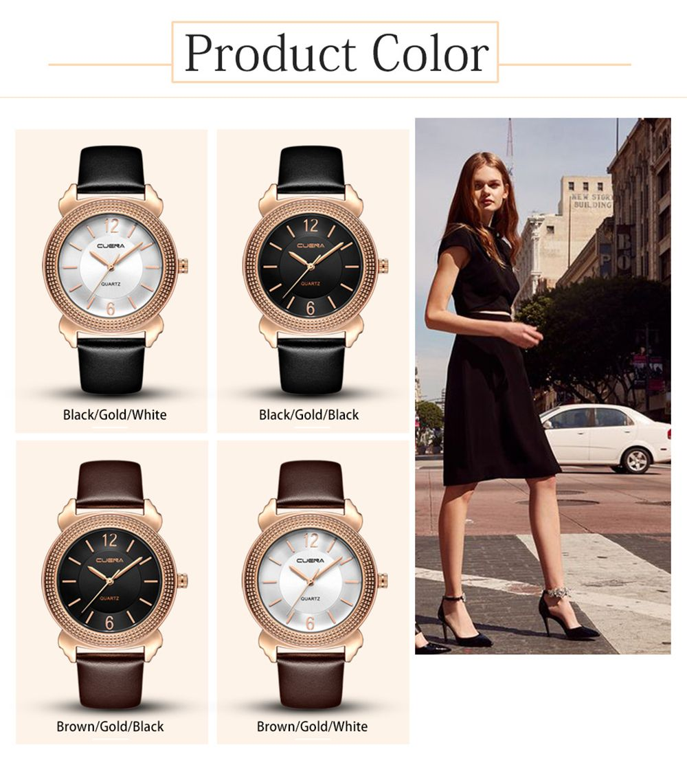 CUENA 6616P Genuine Leather Band Women Quartz Watch