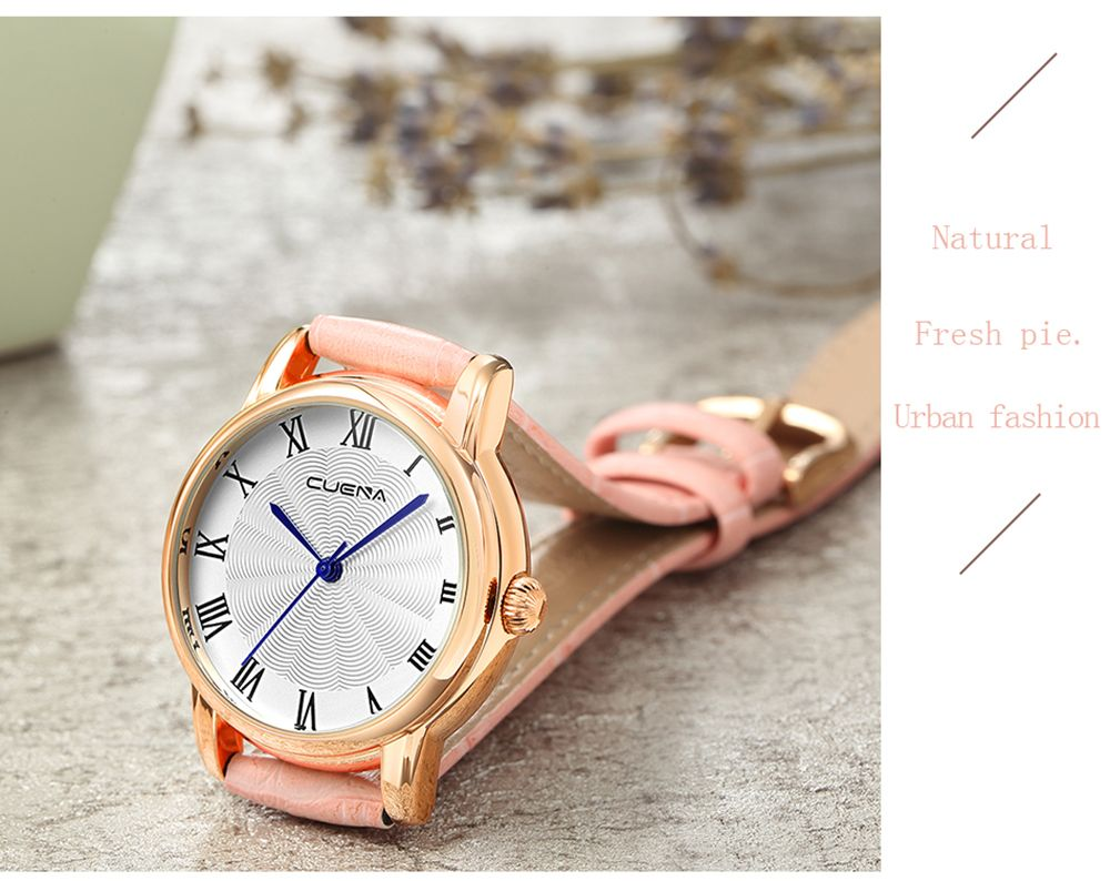 CUENA 6619P Genuine Leather Band Fashion Casual Quartz for Women