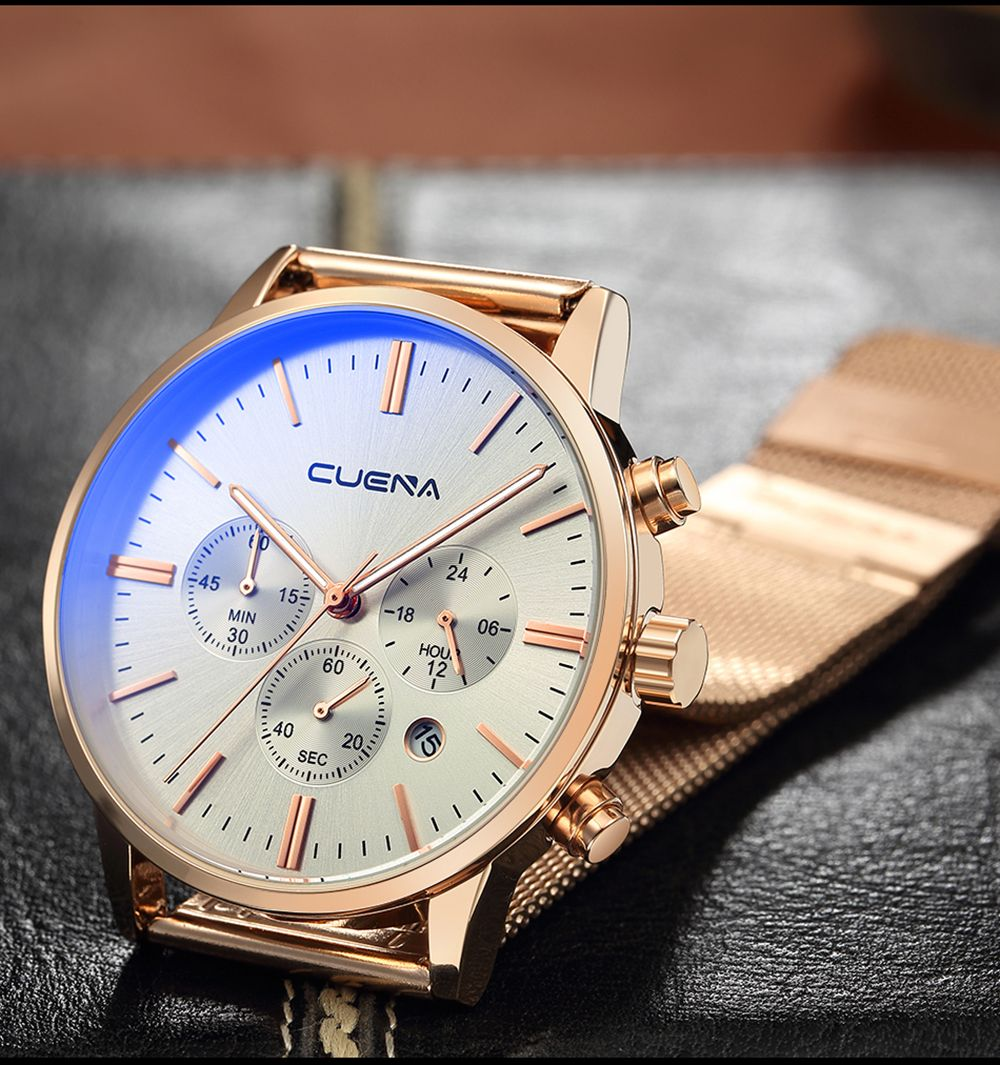 CUENA 6813G Men Multifunctional Alloy Case Quartz Watch with Stainless Steel Band