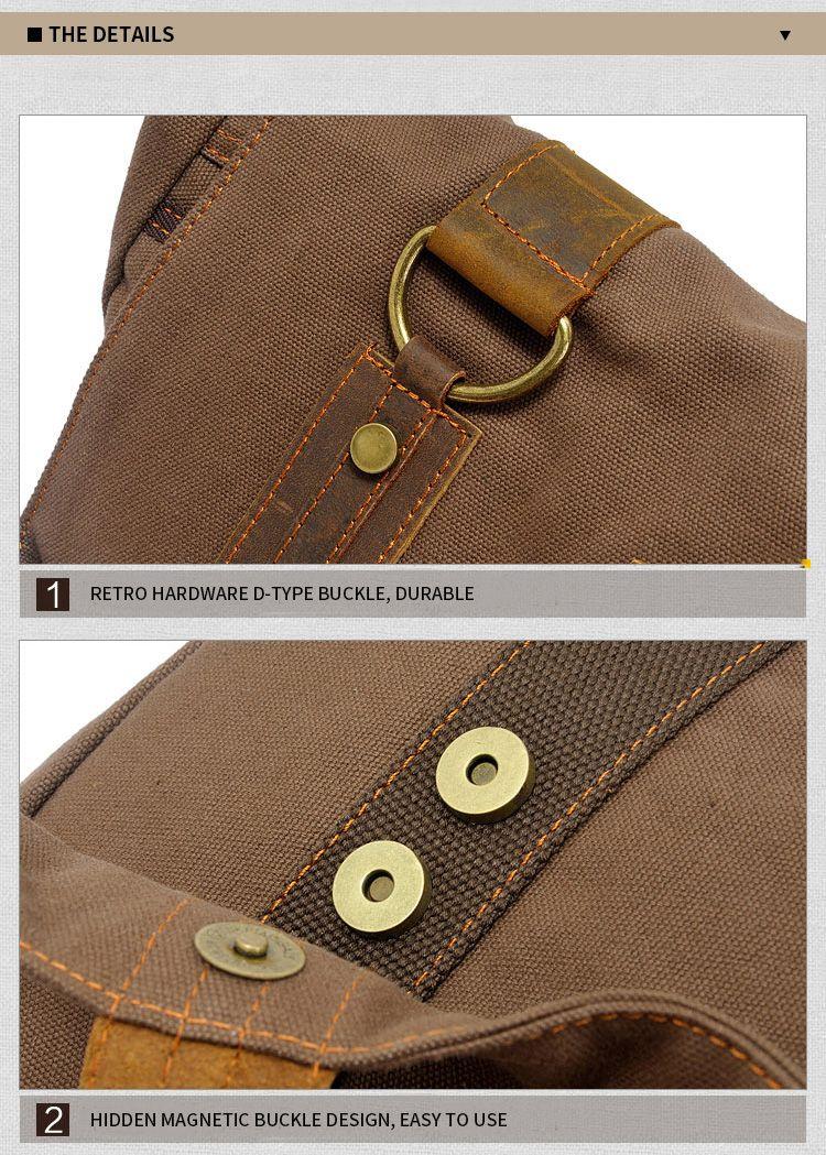 AUGUR Handbag Casual Vintage Multifunction Trunk Men Canvas Travel Crossbody Shoulder Messenger Bag Handbag