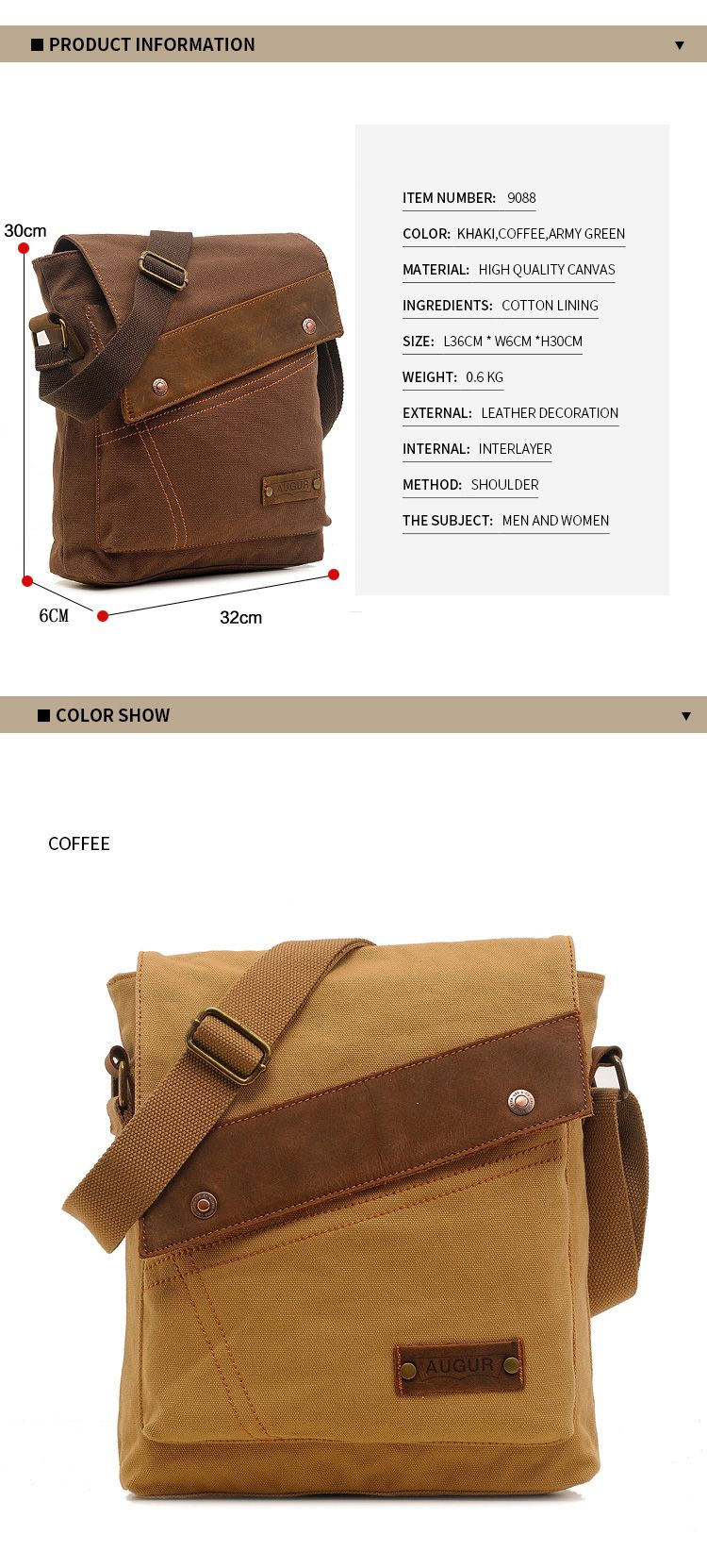 AUGUR Fashion Men Messenger Bag Male Travel Business Crossbody Shoulder Canvas Small Bags