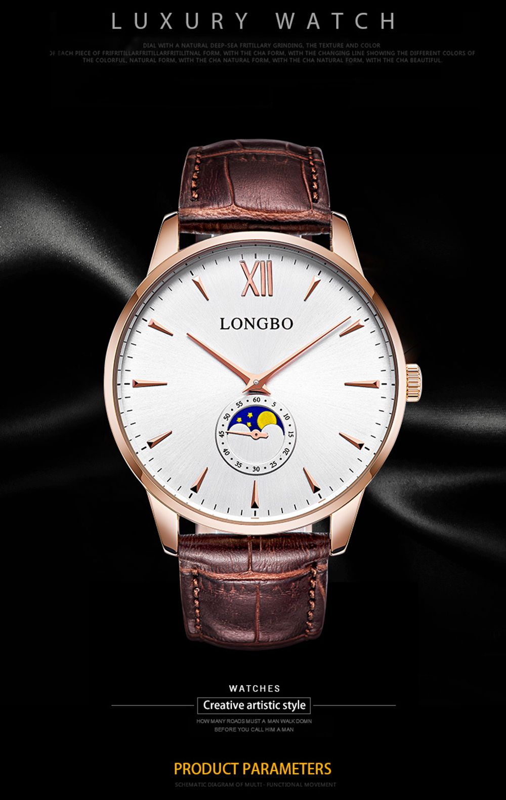 Longbo 5008 Leisure Round Dial Leather Band Couple Watch
