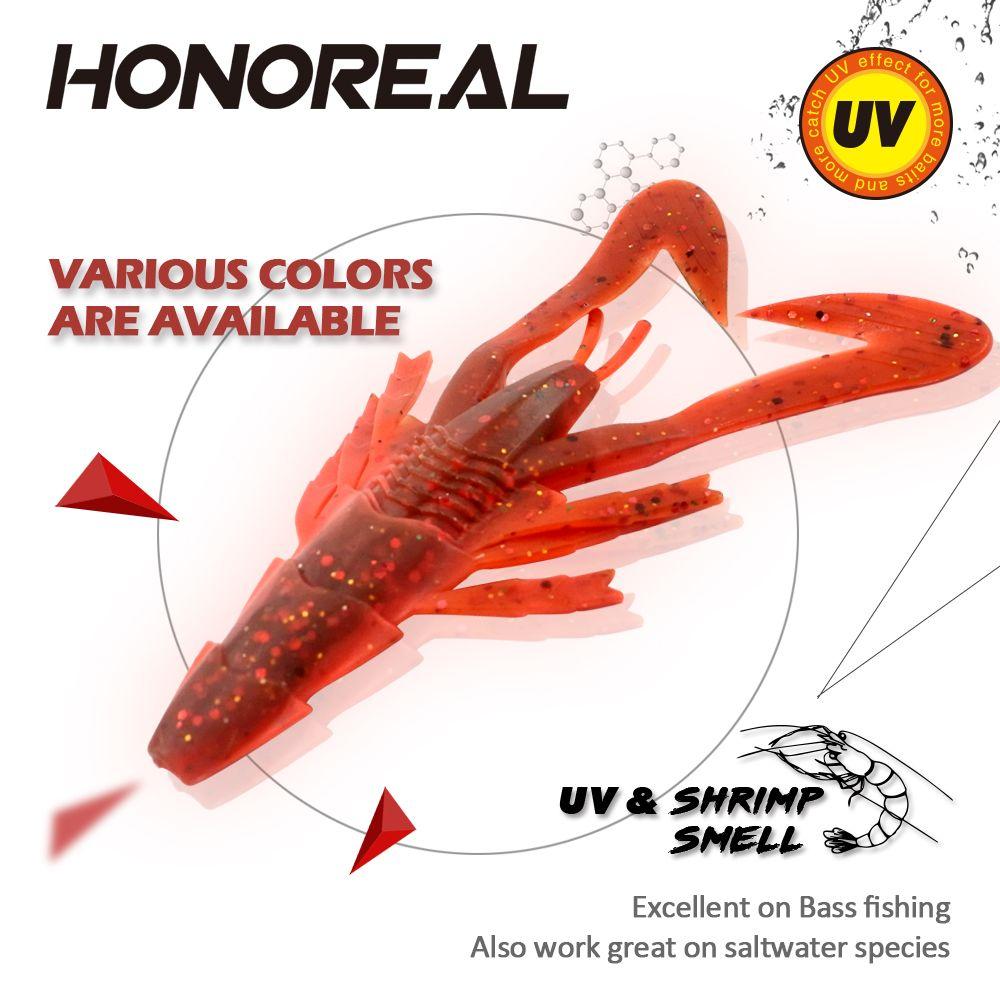 HONOREAL 6.5CM Different Color Artificial Fishing Shrimp Lure Soft Bait 3PCS
