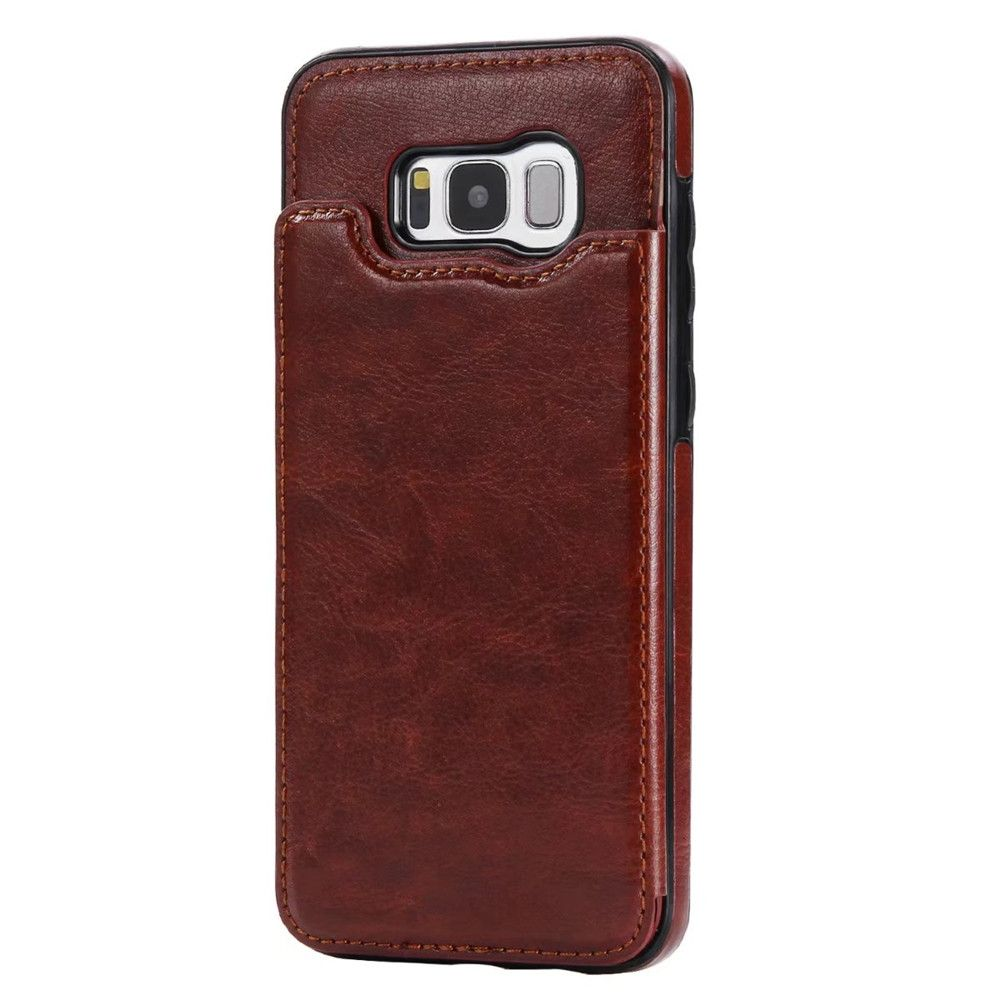 Case for Samsung Galaxy S8 Card Holder with Stand Back Cover Solid Color Hard PU Leather
