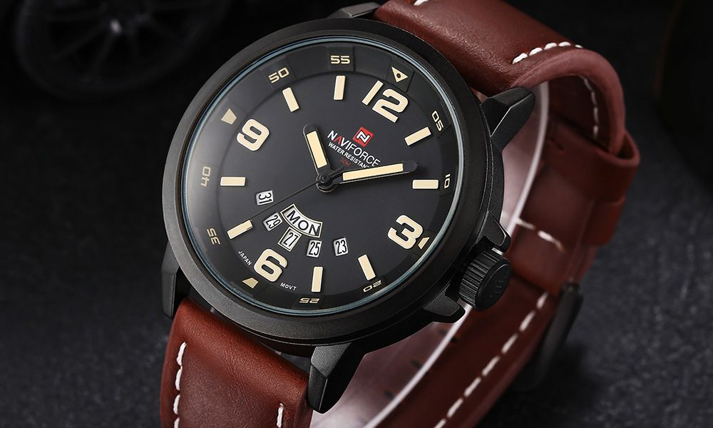 Naviforce 9028 Military Leather Band Quartz Analog Watch Japan Movt Day Date Water Resistant for Men