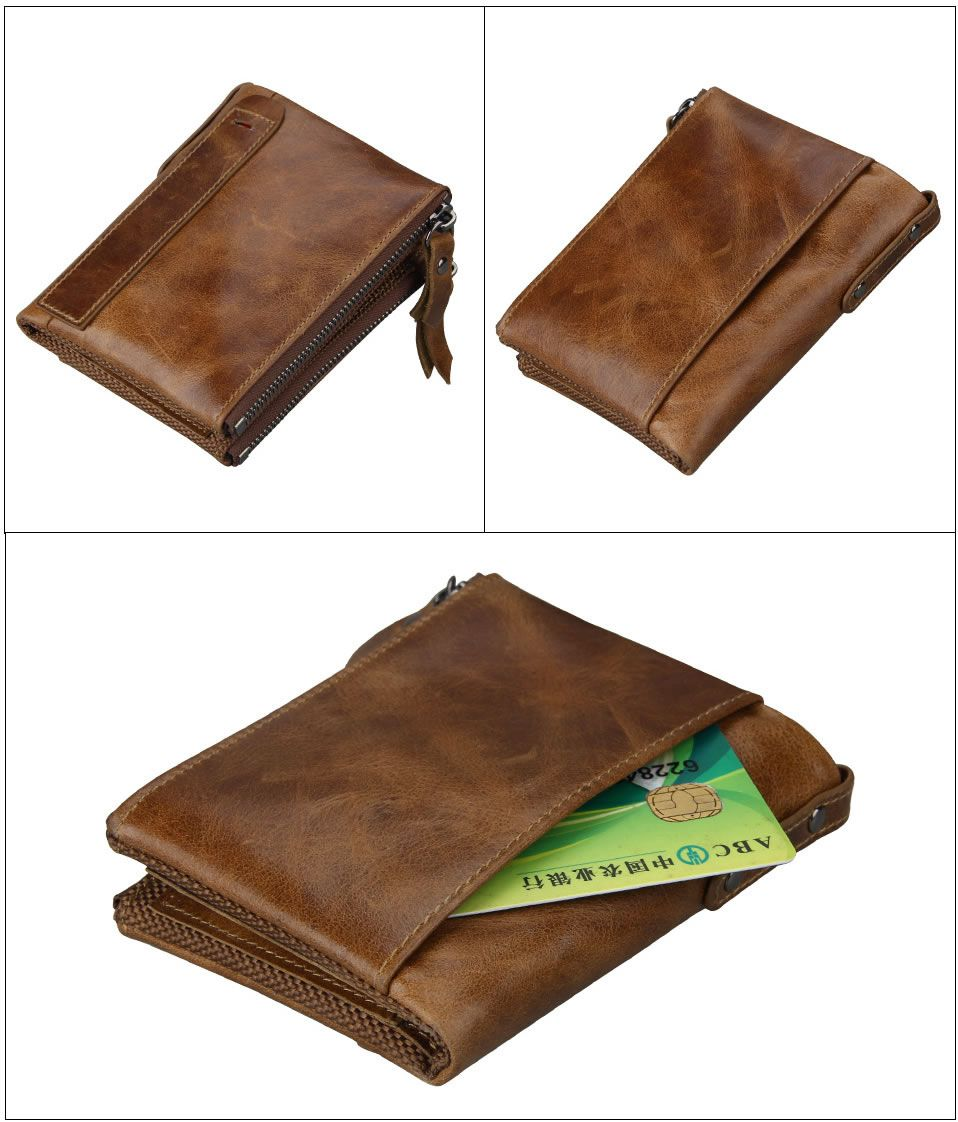 Short Retro Men Wallet Business Genuine Leather Coin Wallets Male Purse Credit Cards Holder Double Zipper