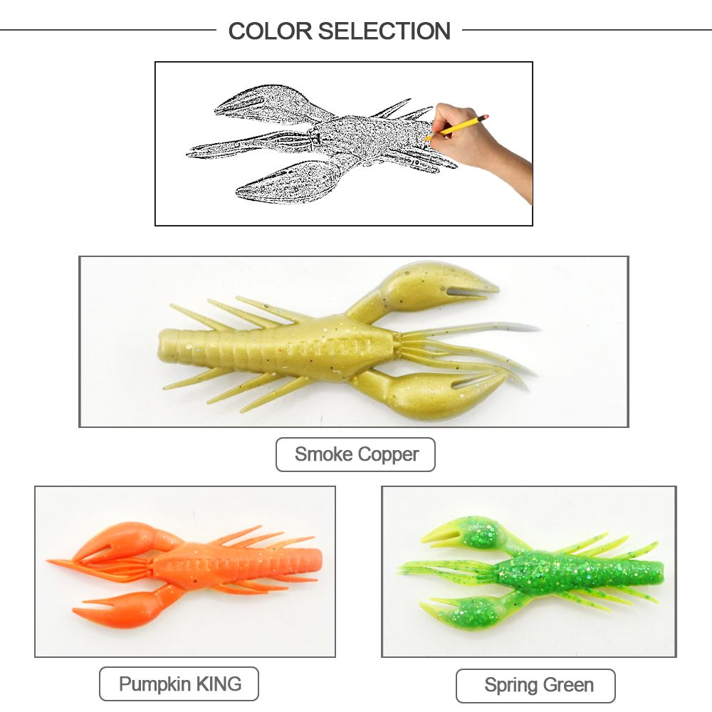 HONOREAL 7.5CM Shrimp Shape Soft Bait Fishing Lure 3PCS