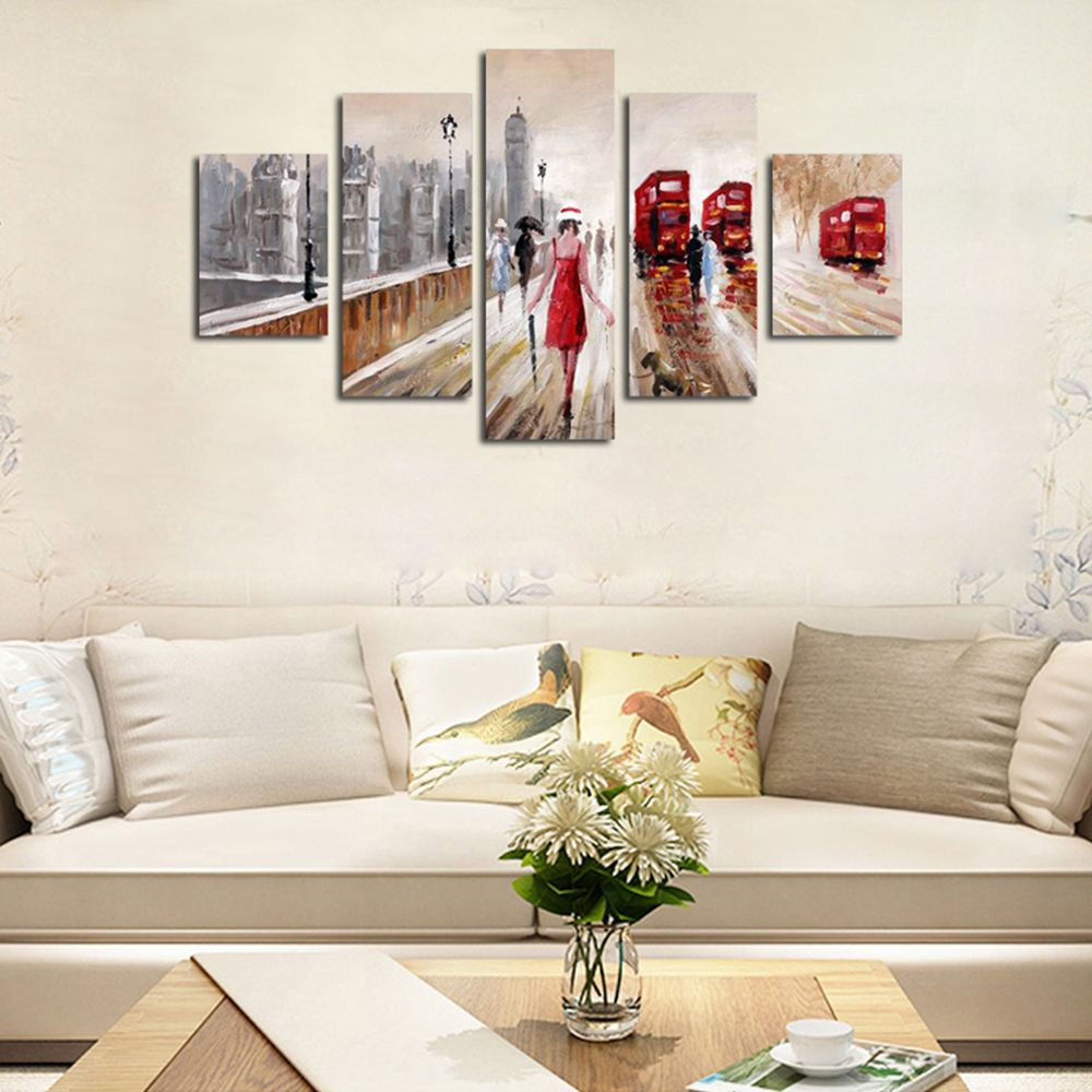 QiaoJiaoHuanYuan No Frame Canvas People Road Decoration Print 5PCS