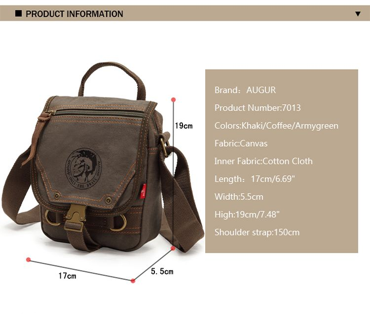 AUGUR Men Shoulder Bag Mini Canvas Messenger Male Handbags Multifunction Travel Crossbody Bags