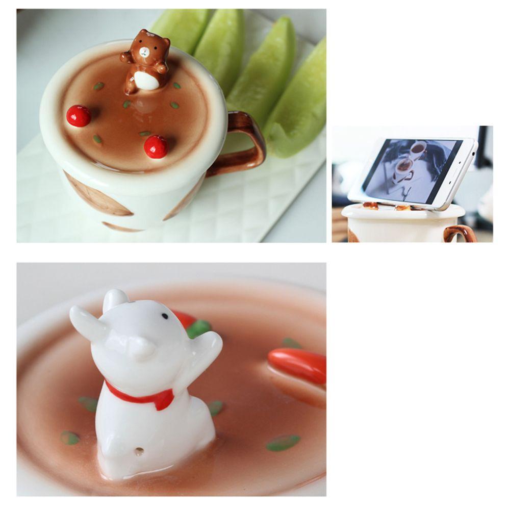 350ML Creative Animal Mobile Phone Bracket Ceramic Mug