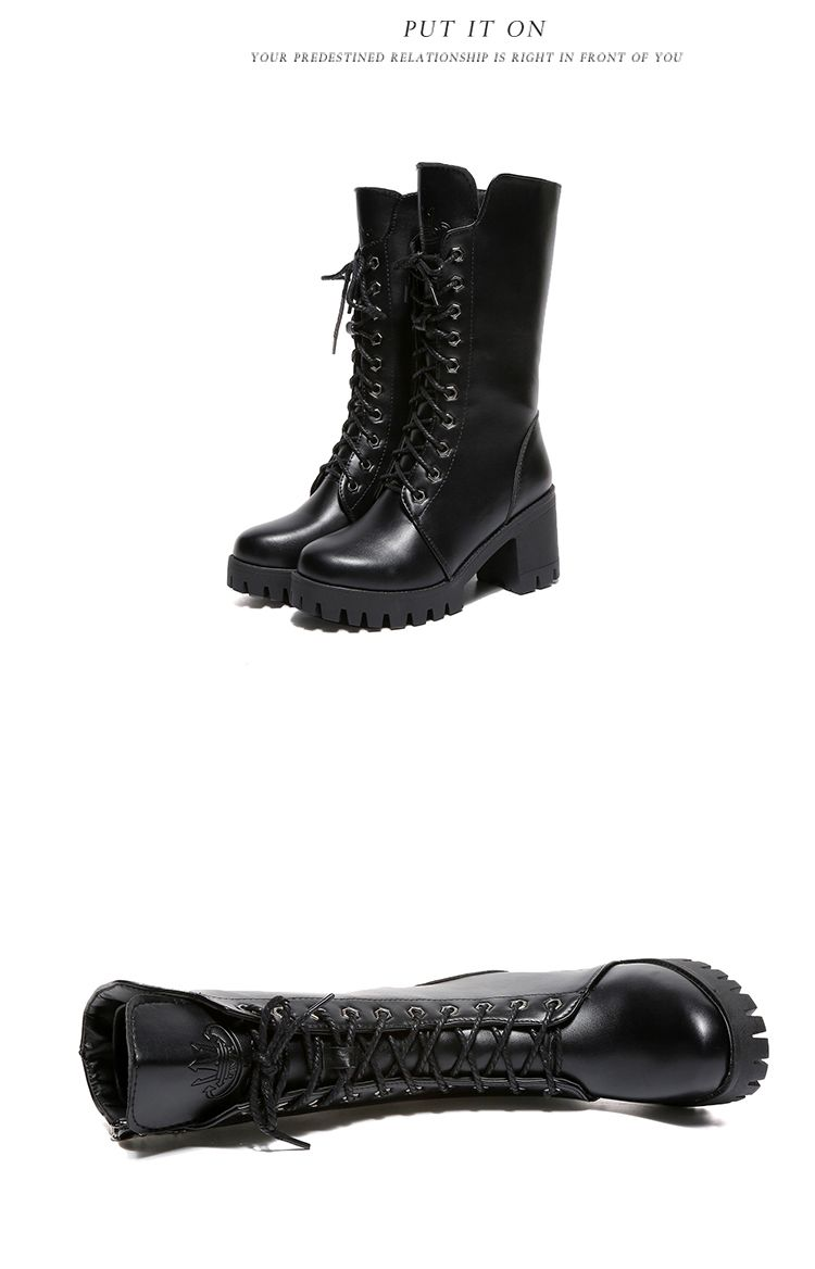 ALS-F16 Thick Boots Thick and High School Women's Shoes