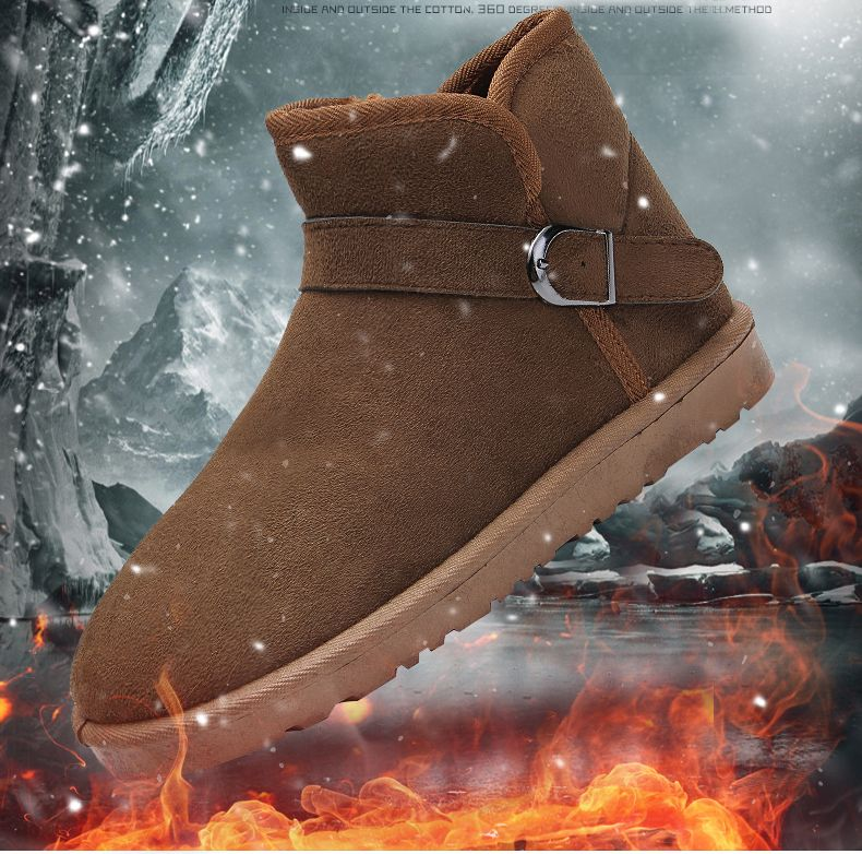 Snow Boots Fur Lined Winter Outdoor Slip On Shoes Ankle Boots