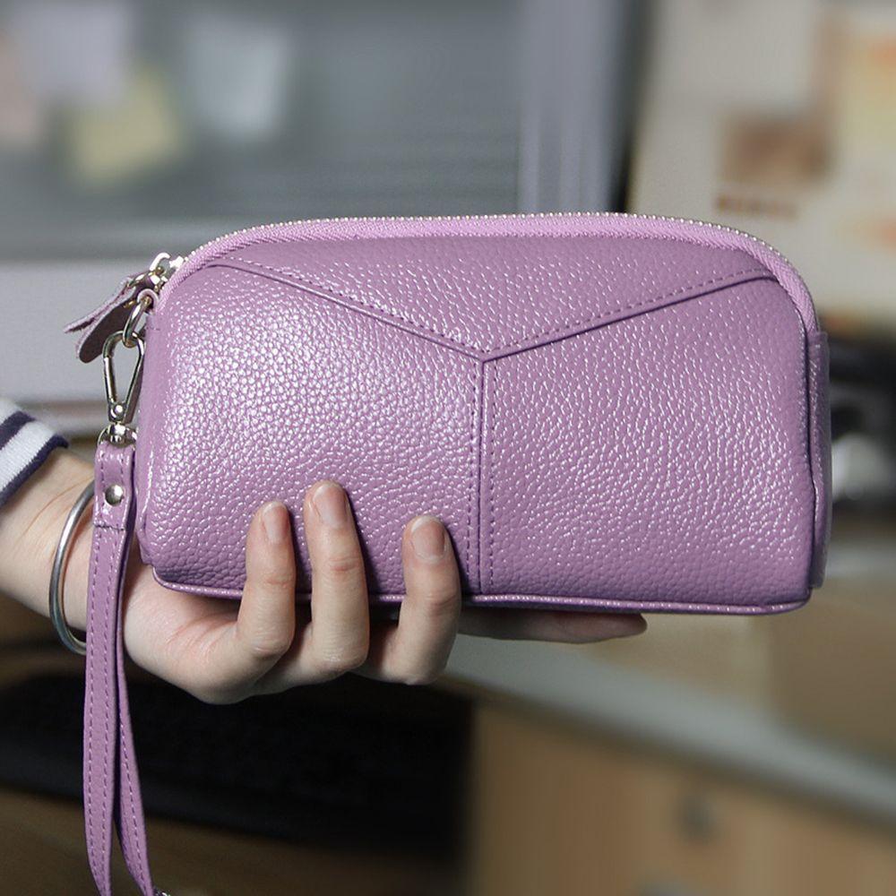 Fashion Genuine Leather Women Wallets Phone Card Holder Lady Long Clutch Purse