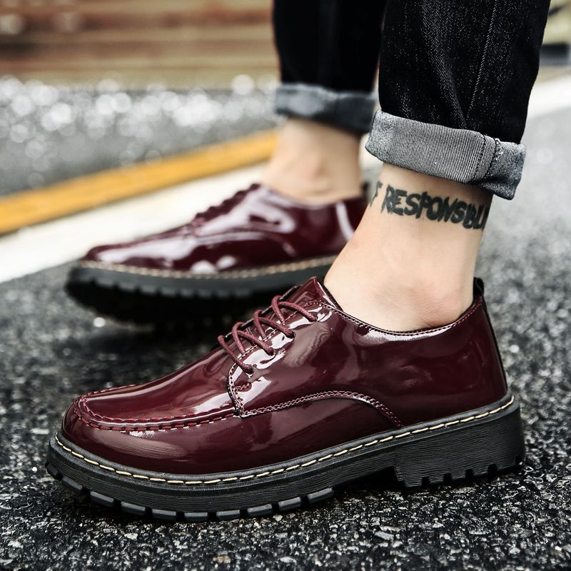 Men Shining Upper Casual Leather Shoes
