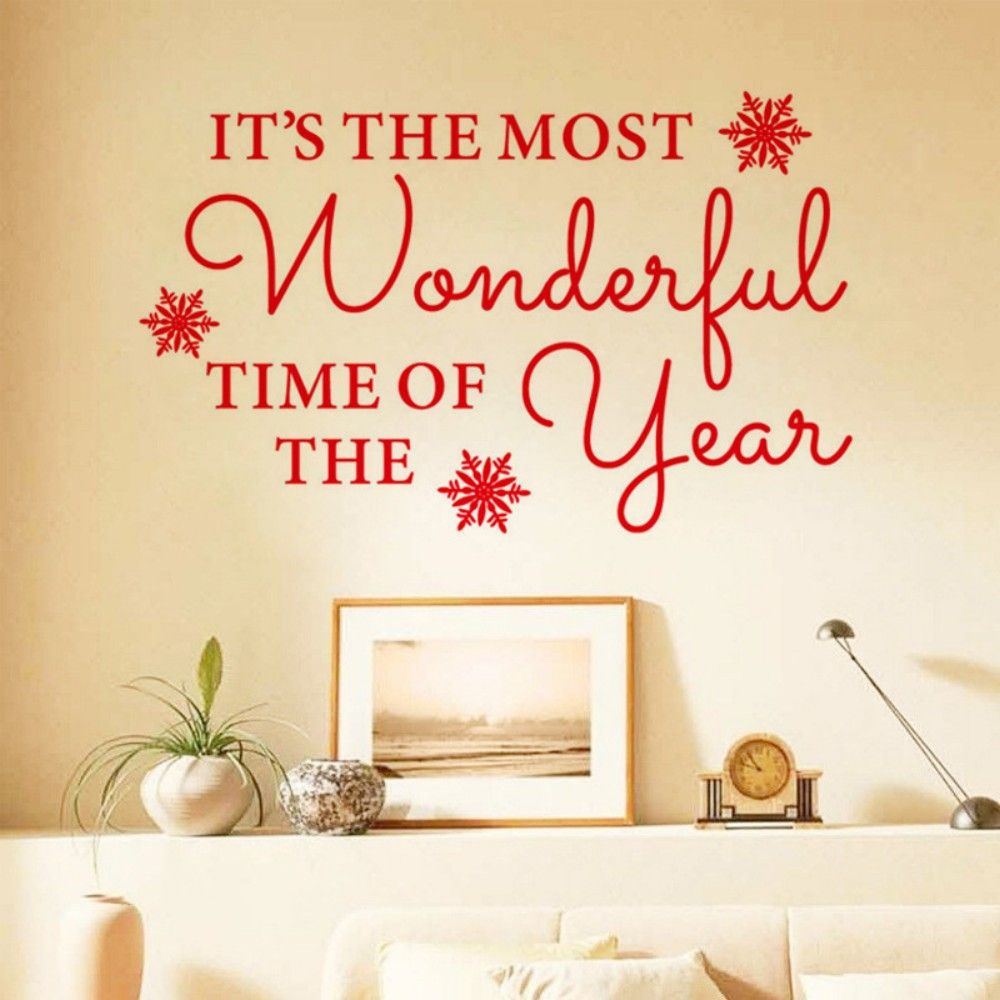 2018 DSU JK812 English Quotes Christmas Wall Sticker RED In Wall ...