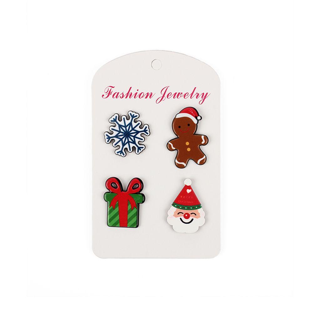 Christmas Series Cute Cartoon Drop Oil Modeling Brooch Gift Doll Snowflake Set