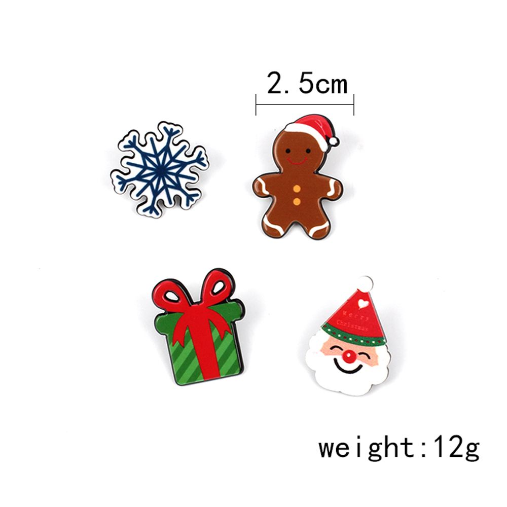Christmas Series Cute Cartoon Drop Oil Modeling Brooch Gift Doll Snowflake Set