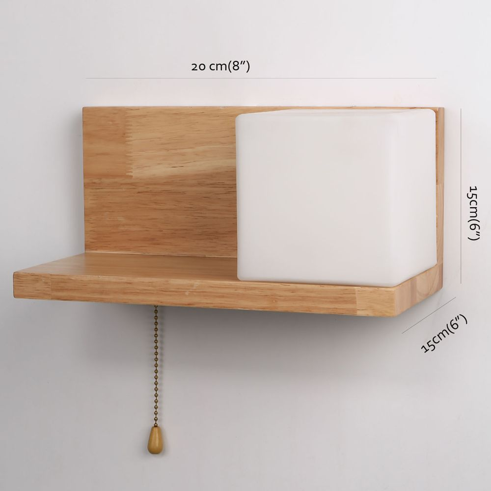Lazada Wood Wall Light with Frosted Glass for Living Room Bedroom