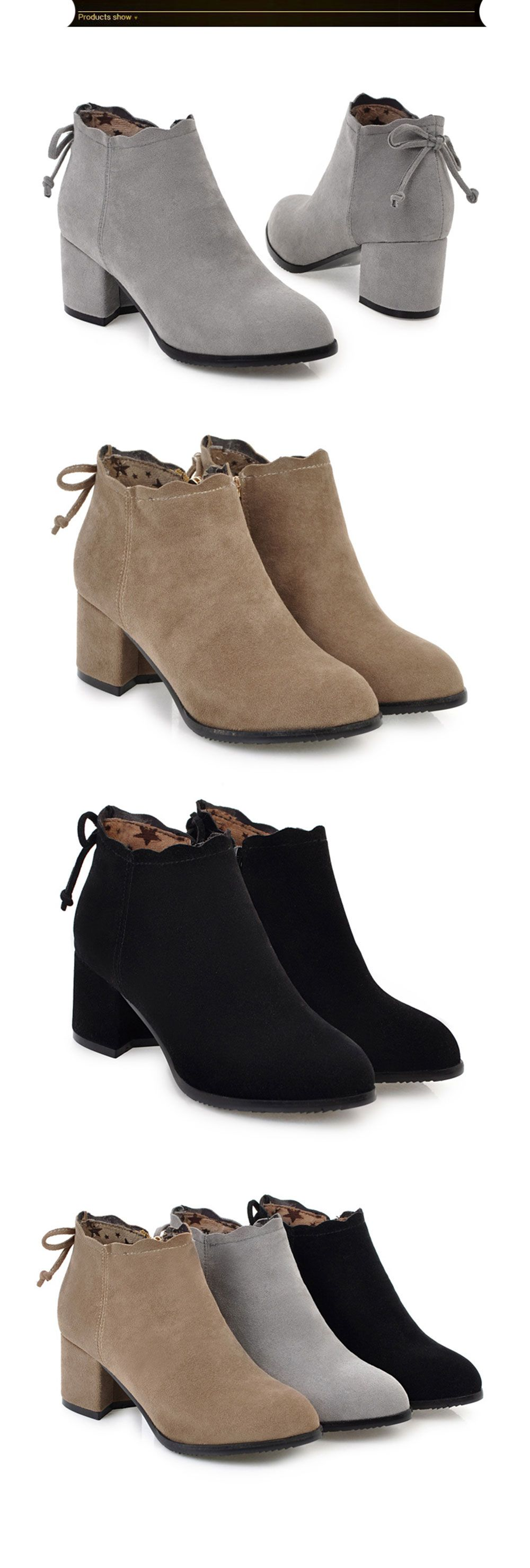 Fashion Casual Shoes and Lace Matte Bow Side Zipper Boots