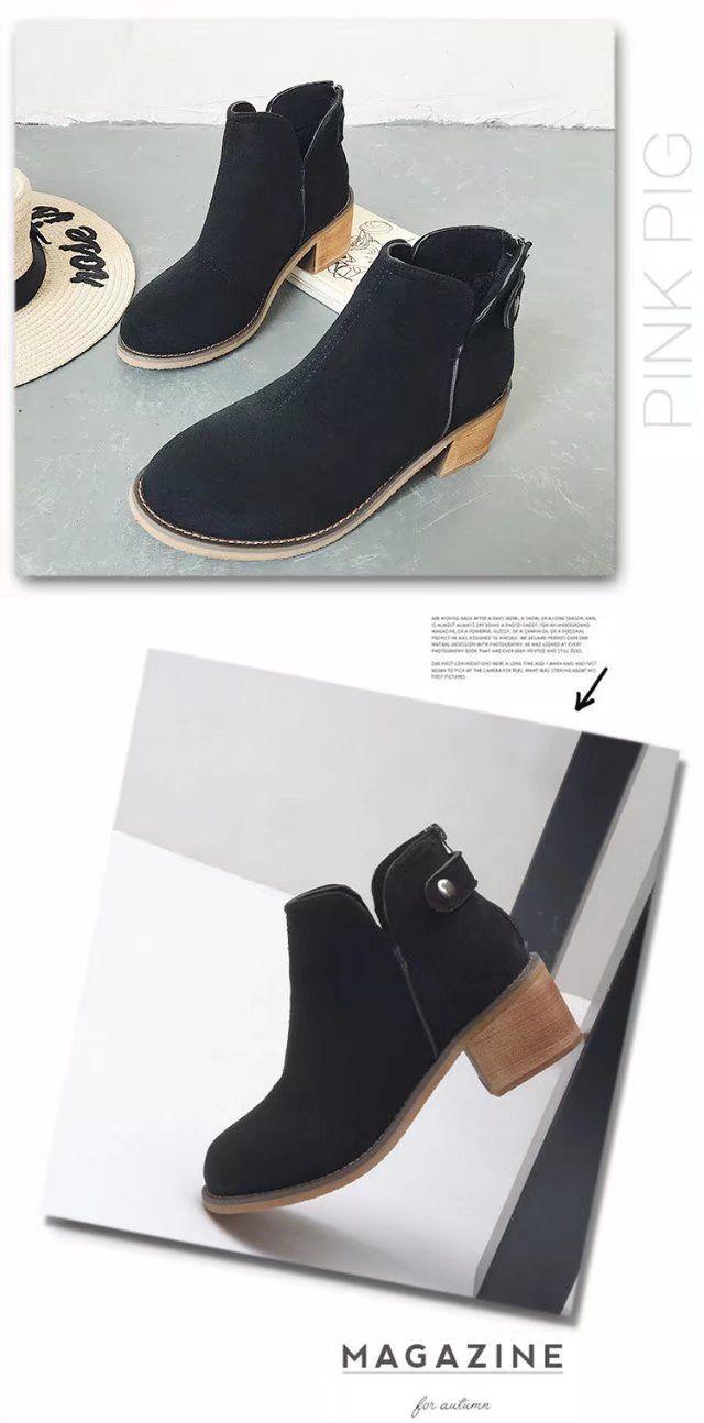 SQE-8868 Back Zipper Retro Round Heel and Martin Boots