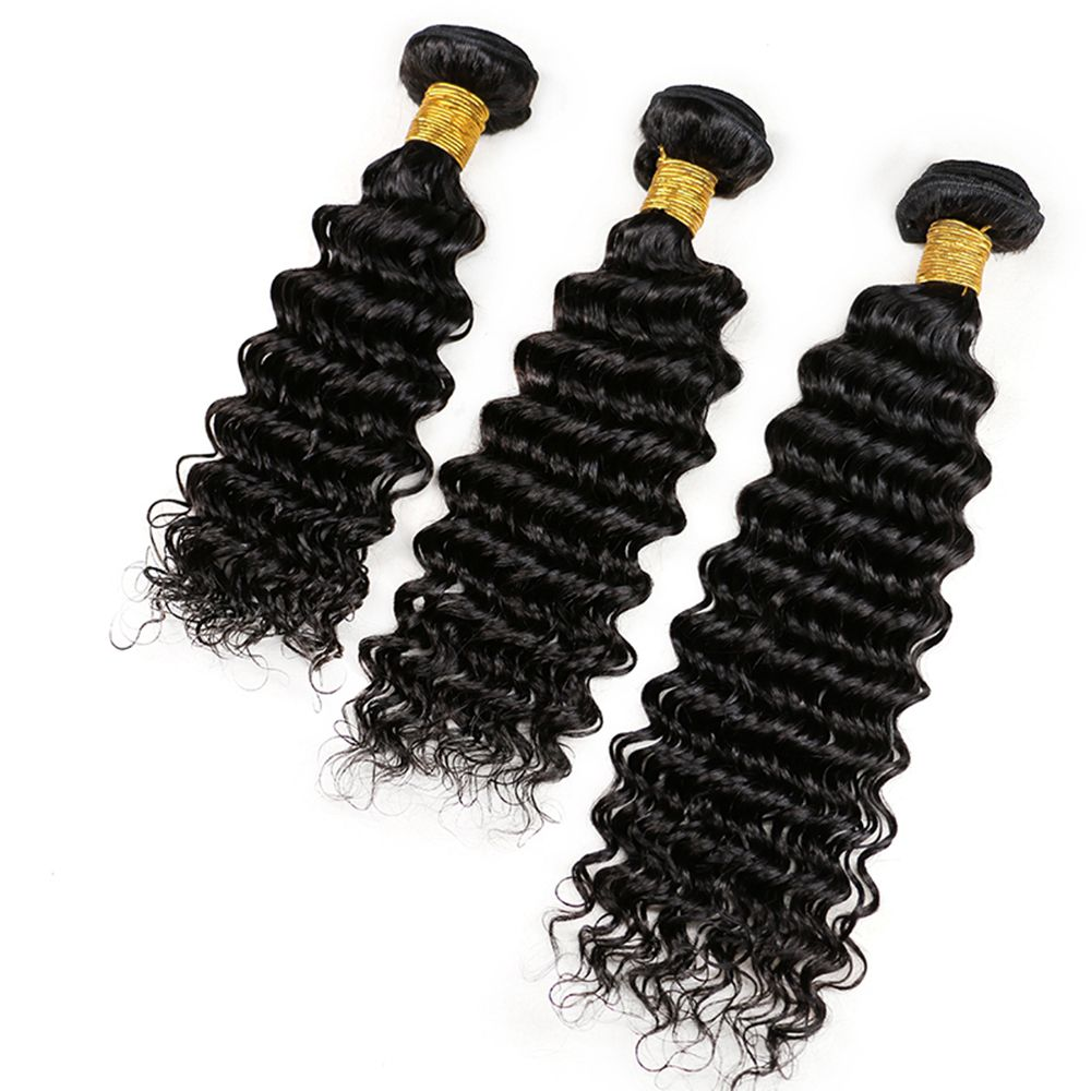 Mongolian Deep Wave Unprocessed Virgin Human Hair Weaves 10inch - 28inch 1piece /  100g