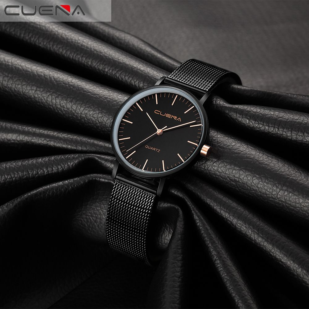 CUENA 6645G Women Casual Quartz Watch Stainless Steel Band Wristwatch