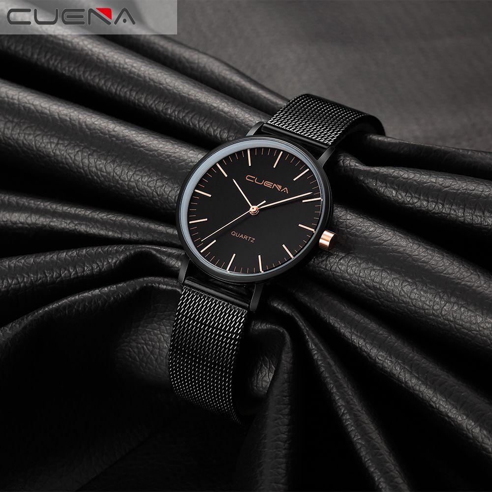 CUENA 6645G Women Casual Quartz Watch Stainless Steel Band Wristwatch