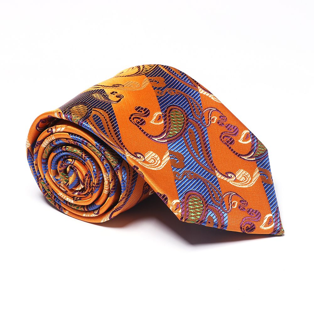 Yellow Blue Cashew Pattern Jacquard Necktie Party Business Formal Men's Tie