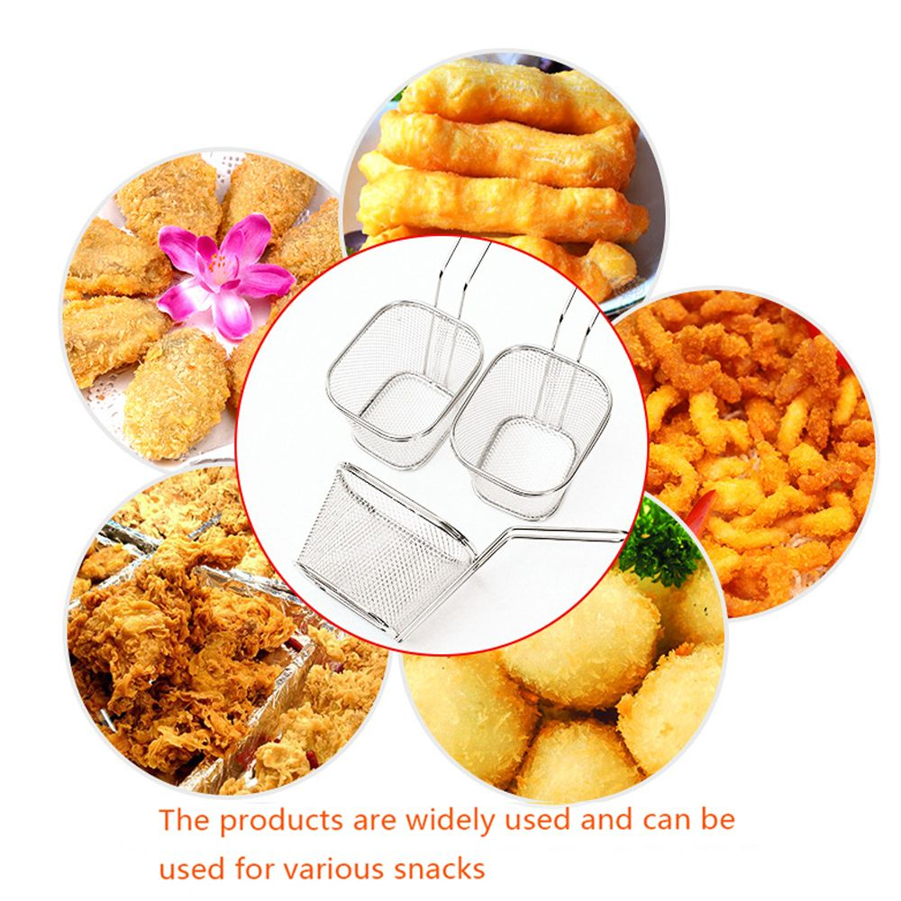 Mini Square Stainless Steel 8 Fry Basket Present Fried Food Table Serving Frying Basket  for French