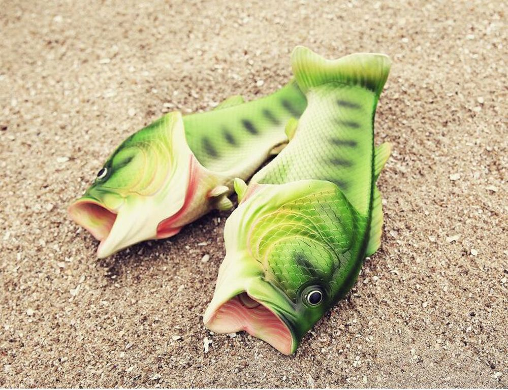Originality Soft Imitation Green Fish Slipper / Unisex