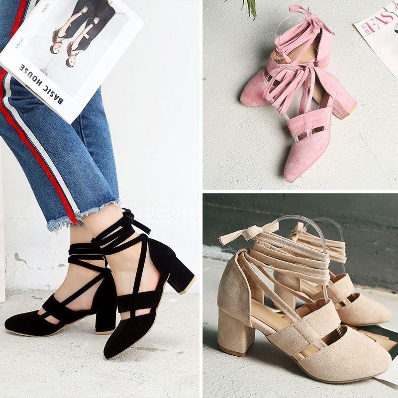 Fashion Female Ankle Strap High Heels Flock Cross Straps Chunky Heel Women'S Wedding Pumps Plus Size Ladies Shoes