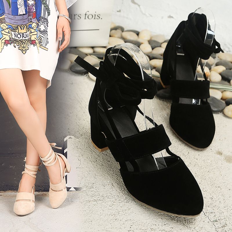 Fashion Female Ankle Strap High Heels Flock Cross Straps Chunky Heel Women'S Wedding Pumps Plus Size Ladies Shoes