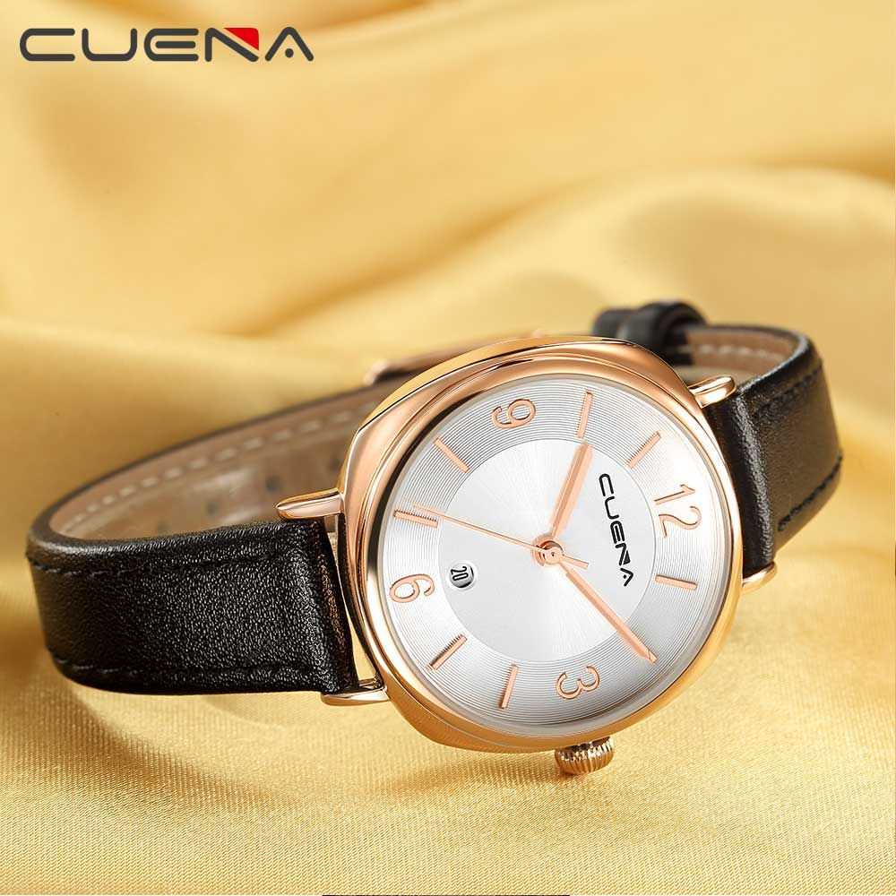 CUENA 6640P Fashion Genuine Leather Watchband Waterproof Women Quartz Watch