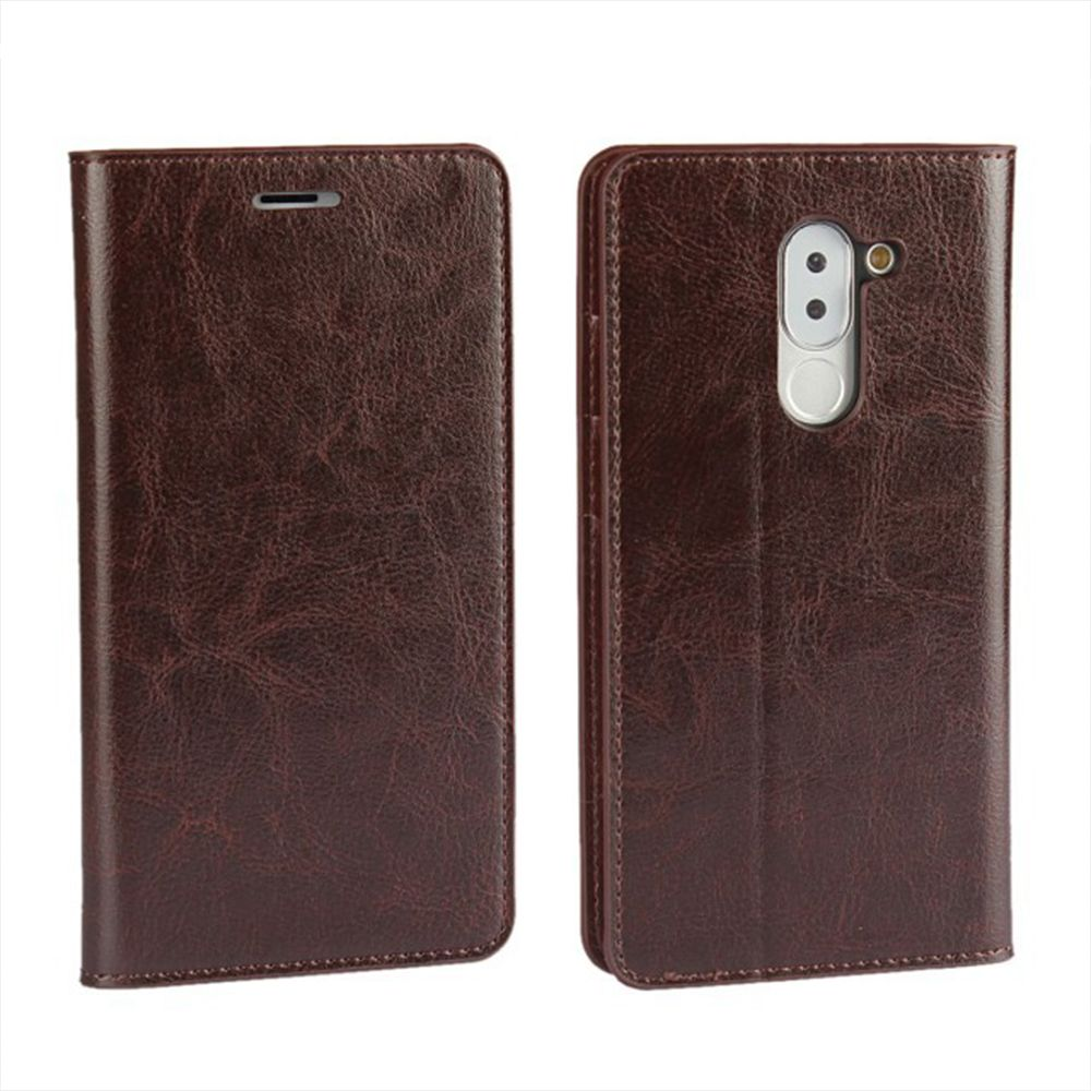 XY2 Crazy Horse Embossed Leather Wallet Clamshell Mobile Phone Protective Sleeve for HUAWEI Glory Play 6X