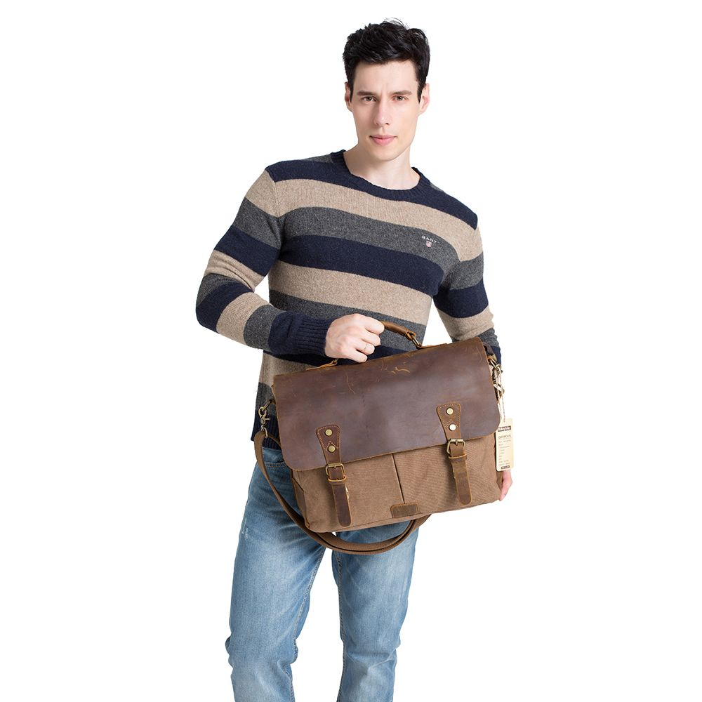 AUGUR Men Handbags 15.6 Inch Leather Vintage Messenger Shoulder Bag Canvas Satchel Laptops
