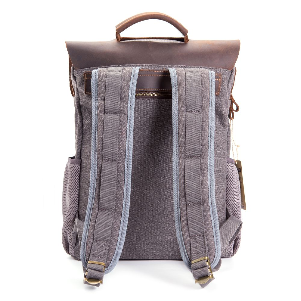 WalkingToSky Men Vintage Leather Canvas Backpacks Teenagers School Rucksack for Outdoor Travel Daypack
