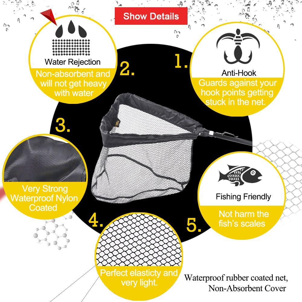 HONOREAL 210CM Portable Ultralight Aluminum Pole Strong Telescopic Folding Fishing Landing Net