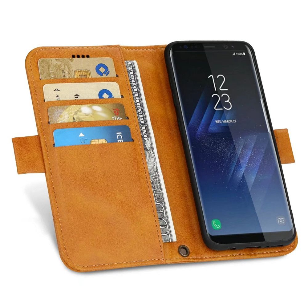 Wallet Premium Protective PU Leather Flip Cover Card Slot Side Pocket Magnetic for Samsung Galaxy S8 Case