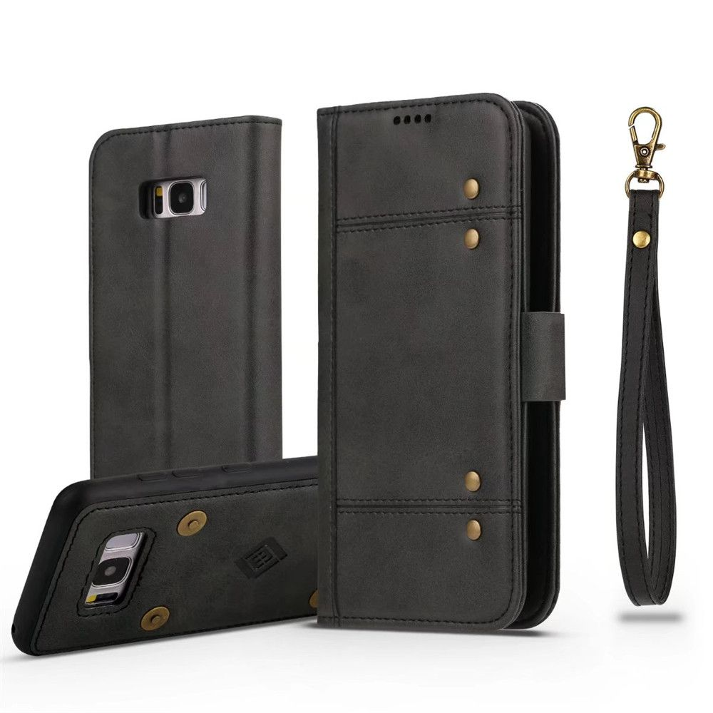 Wallet  Premium Protective PU Leather Flip Cover Card Slot Side Pocket Magnetic for  Samsung Galaxy S8 Plus Case