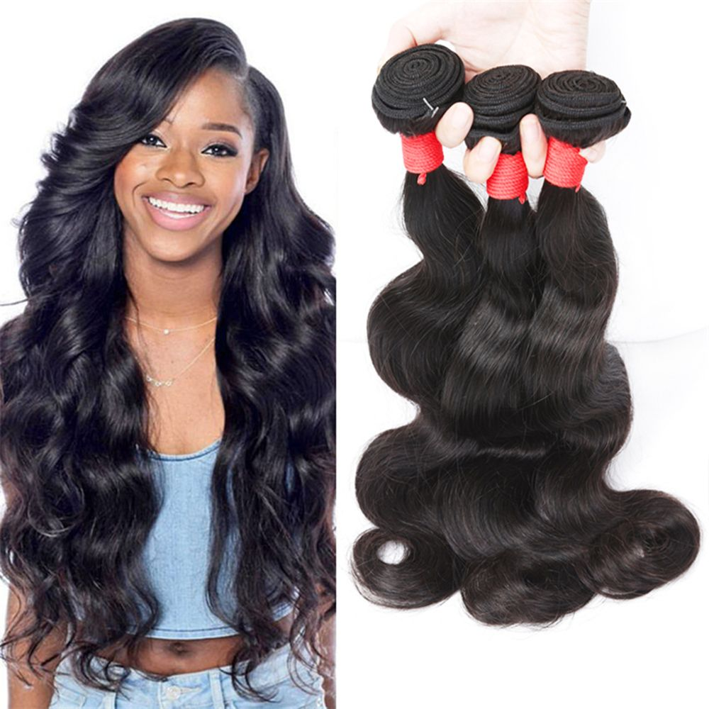 Natural Color Indian Body Wave Unprocessed Virgin Human Hair weaves 1pc / 100g