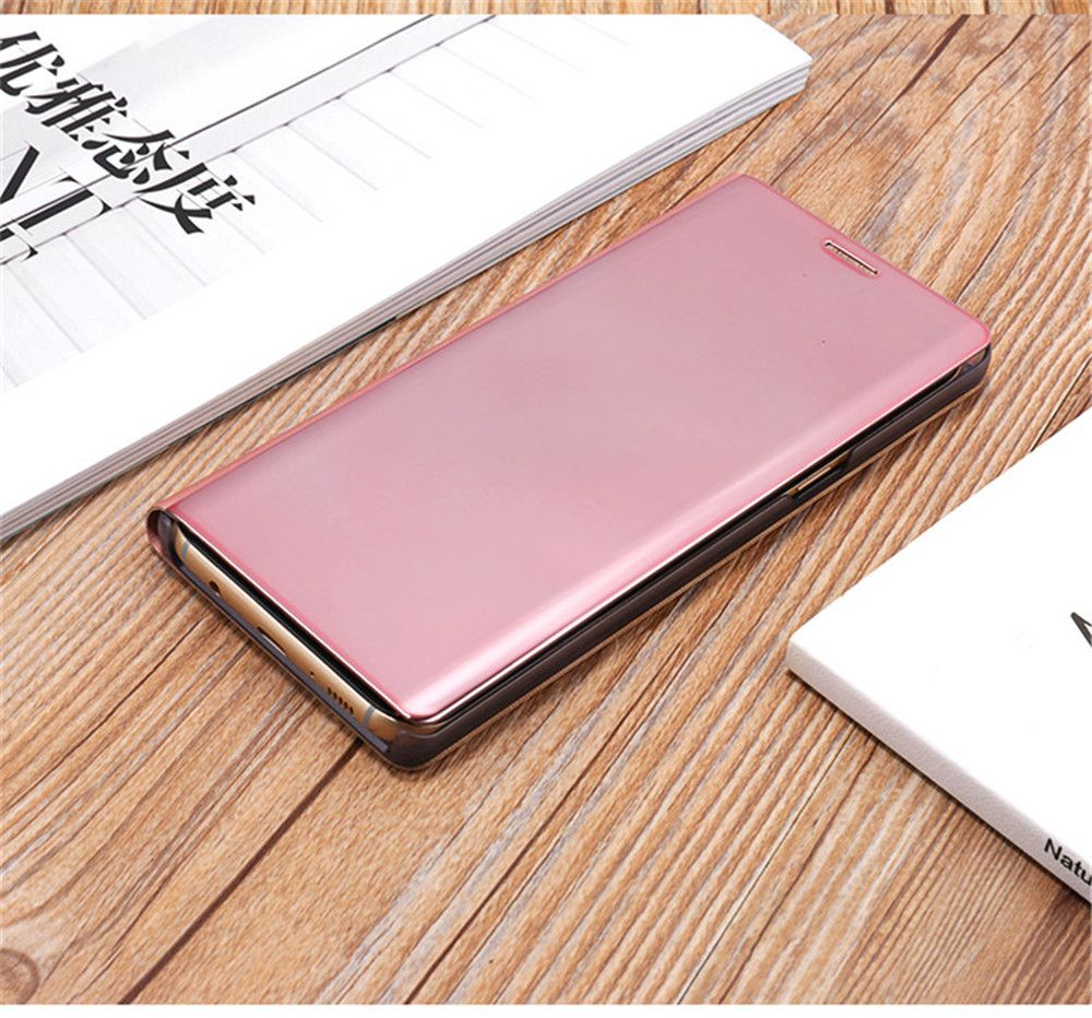 for Samsung Galaxy Note 8 Cover with Stand Mirror Auto Sleep/Wake Up Full Body Case Solid Color Hard PU Leather