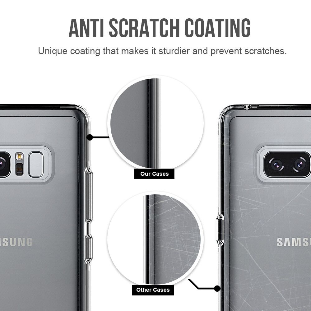 For Samsung Galaxy Note 8 Transparent Back Cover Case Solid Color Hard PC