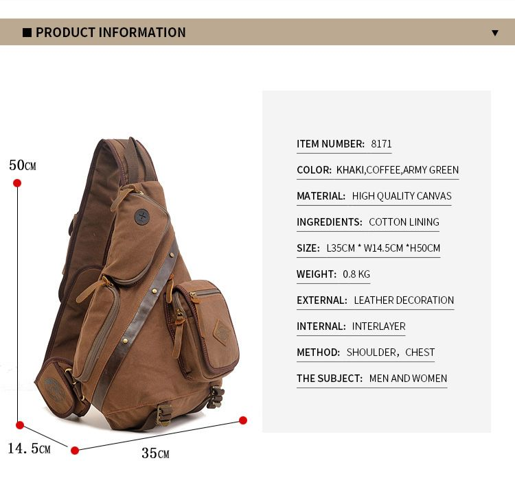 AUGUR Multifunction Canvas Chest Bag Men Travel  Shoulder Messenger Bag