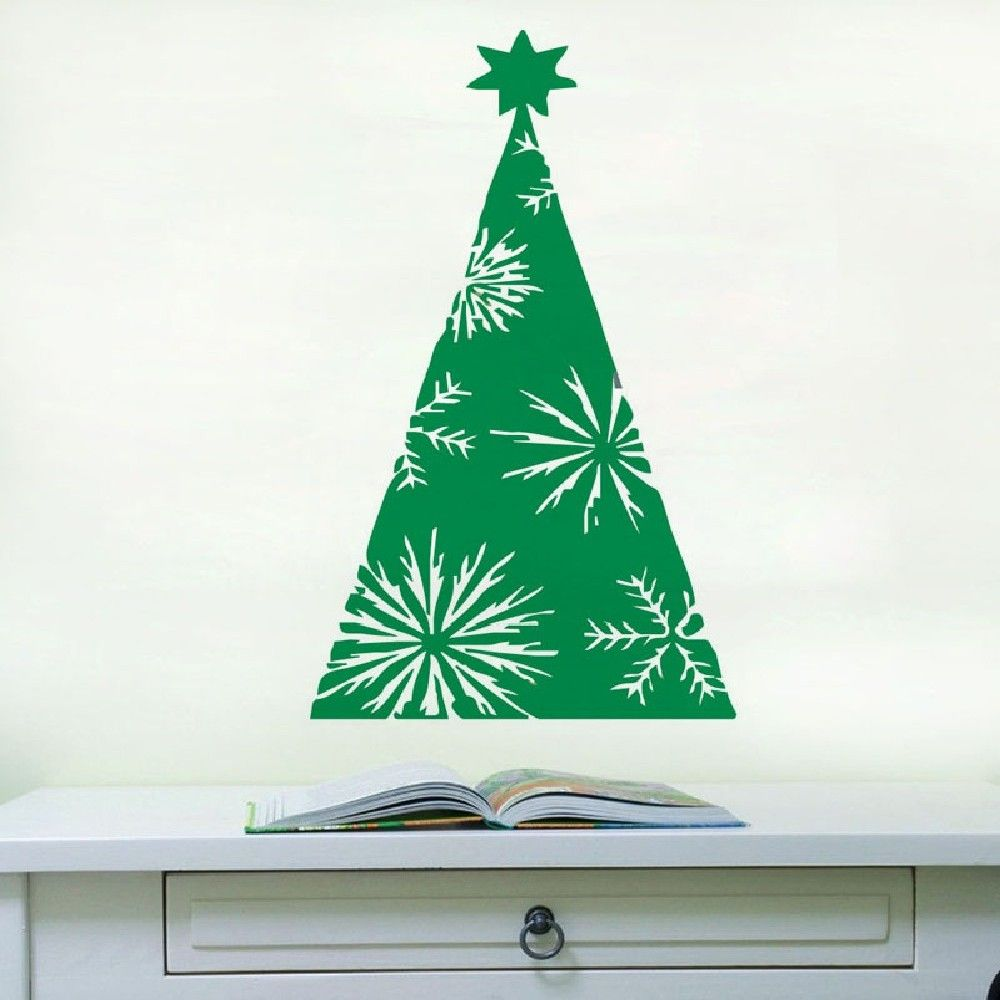 DSU Green Xmas Tree Wall Sticker Home Shop Windows Decal Decor