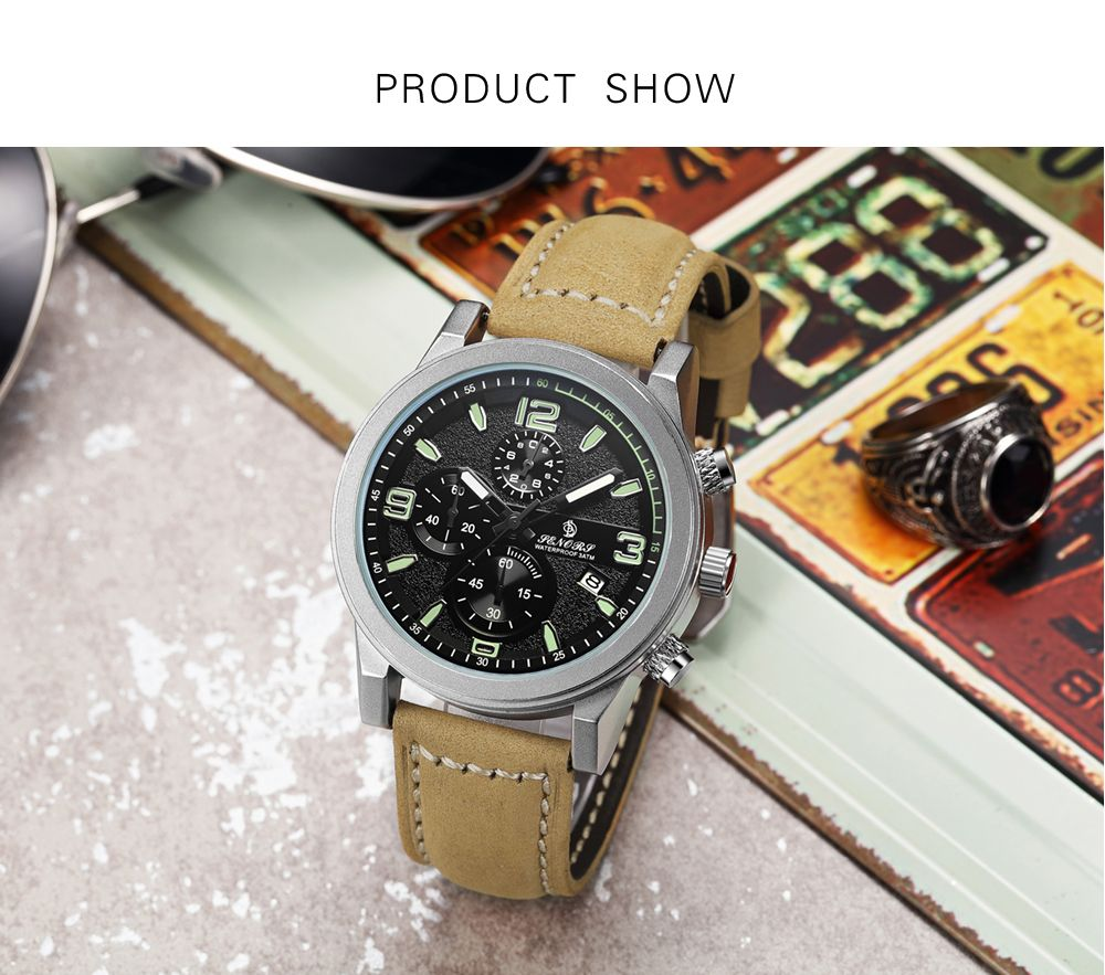 Atongm SN001 Fashion Men Date Quartz Watch with Leather Band