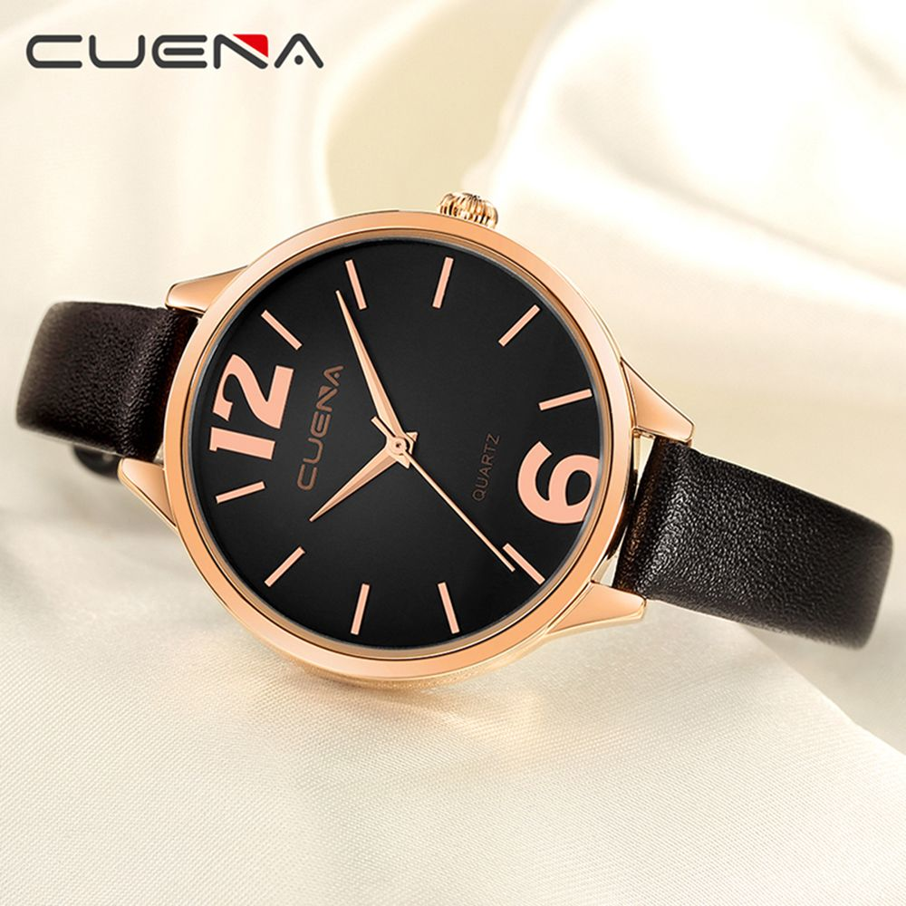CUENA 6630P Women Fashion Genuine Leather Band Quartz Analog Wristwatch
