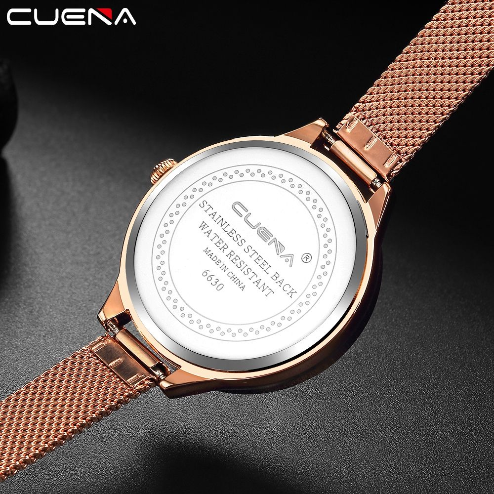 CUENA 6630G Women Fashion Stainless steel Watchband Quartz Wristwatch